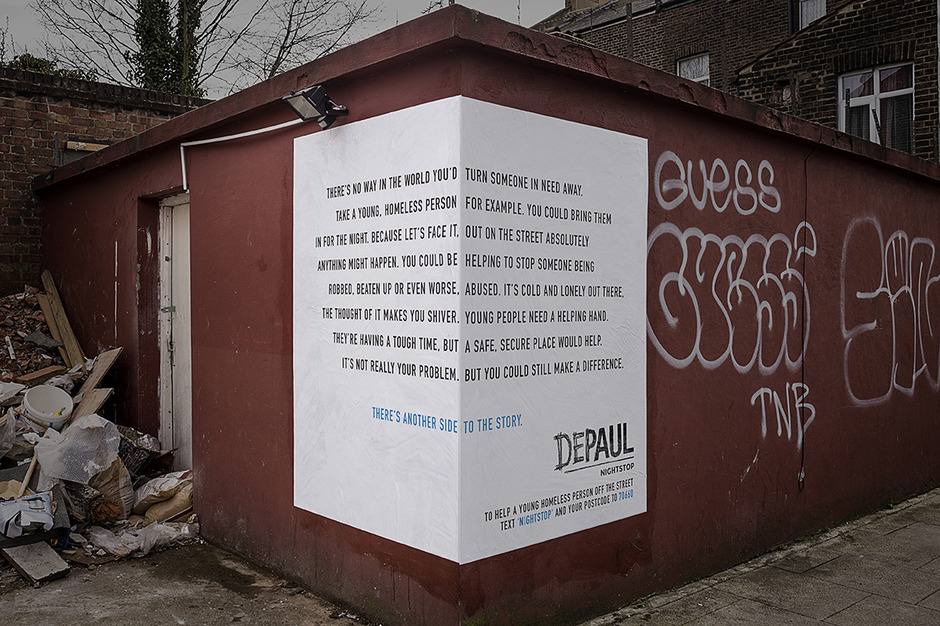 Guerrilla marketing campagne daklozen dubbel tekst