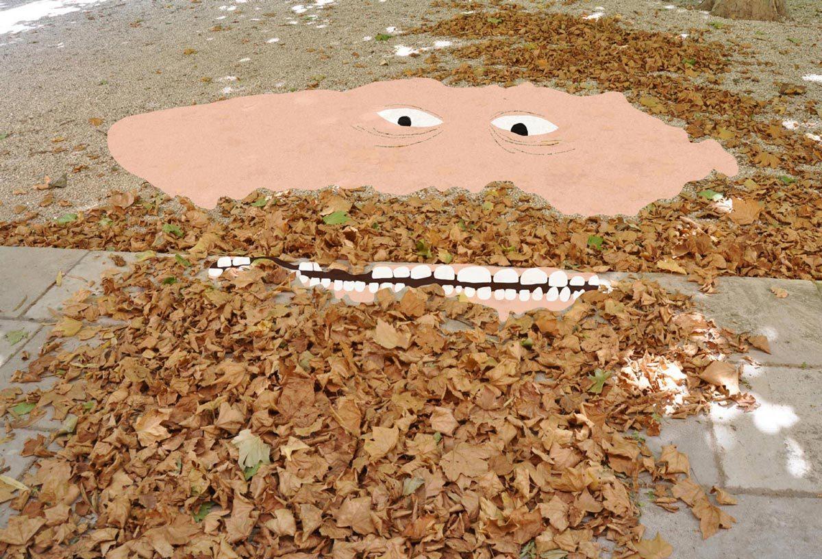 man met baard gemaakt van bladeren