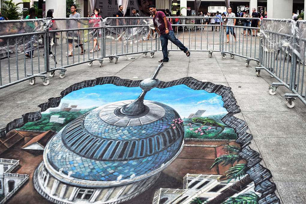 3d street art bij de bugis junction in singapore