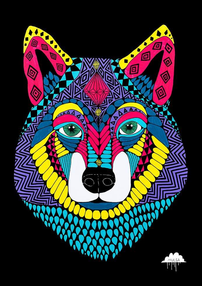 kleurrijke wolf