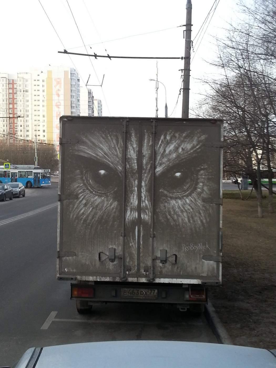 uil op de achterkant van vrachtauto