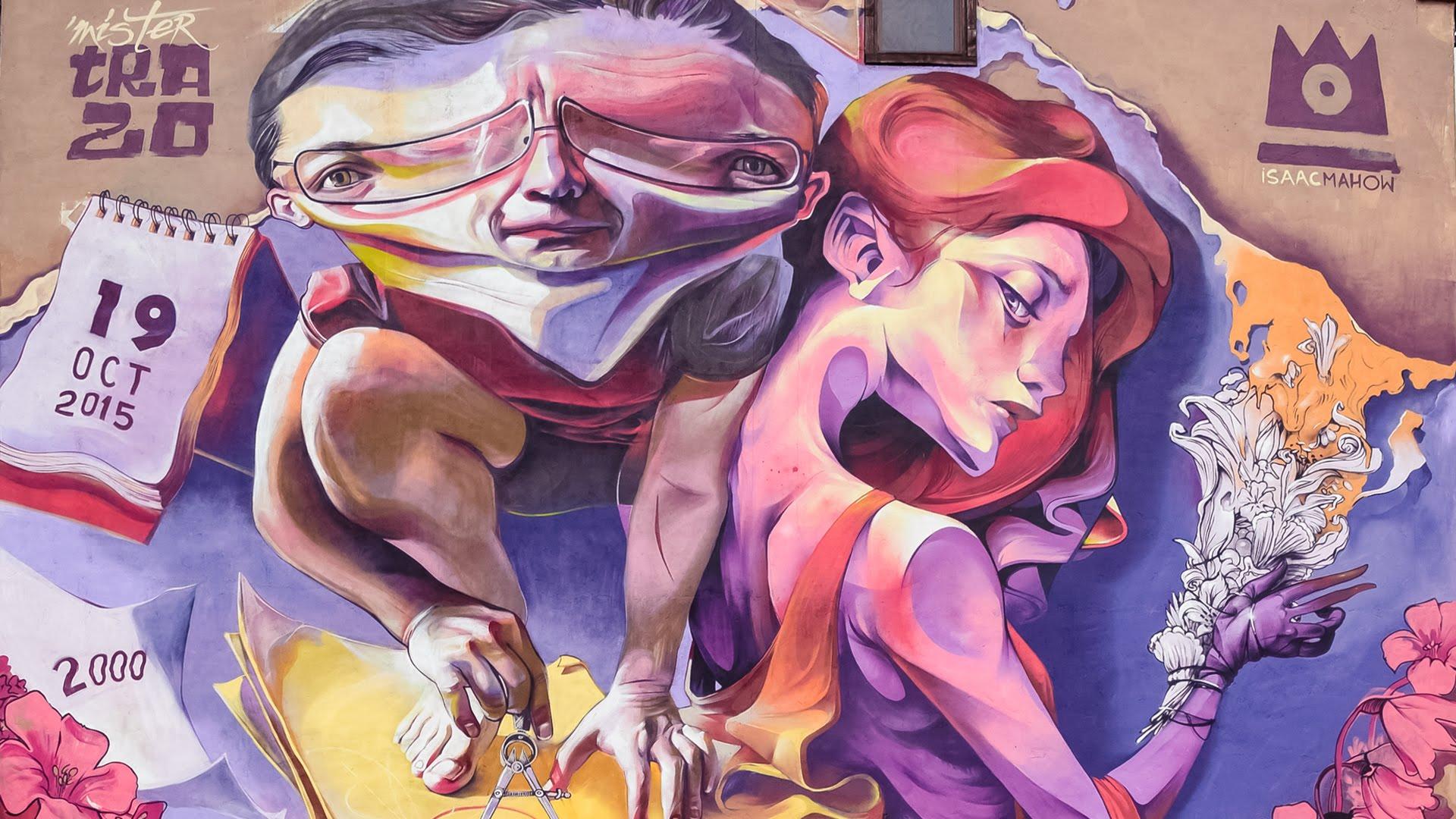 man met vervormd lichaam en vrouw